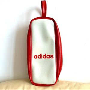 Vintage adidas leather clutch bag zipper red white